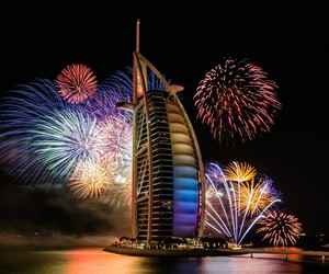 Dubai, fireworks, and night image