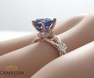 rose gold, two tone ring, and blue sapphire ring image
