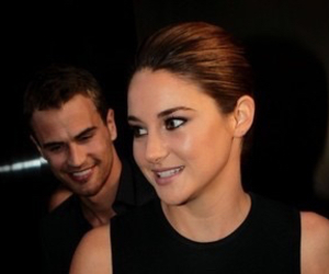 Shailene Woodley, theo james, and book image