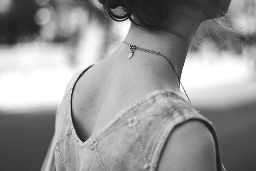 girl, necklace, and black and white image