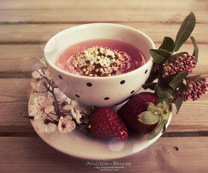 cup, strawberry, and tea image