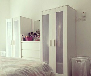 bedroom, display, and white image