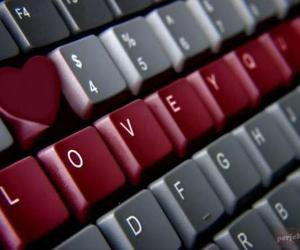 love, heart, and keyboard image