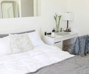 bedroom, mirror, and white image