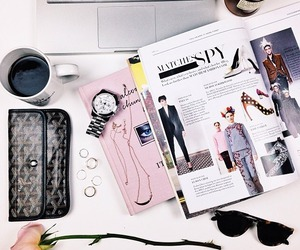 fashion, coffee, and magazine image