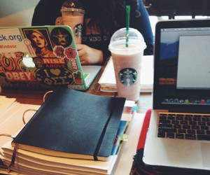 study, starbucks, and work image