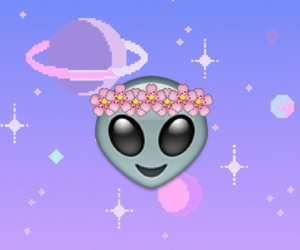 alien, flowers, and emoji image