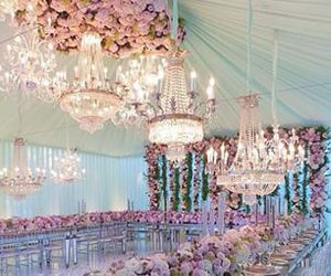 chandelier, roses, and wedding image