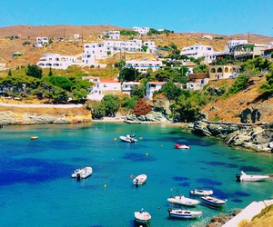 blue, Greece, and Houses image