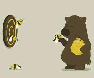 bear, bee, and funny image
