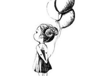 girl, drawing, and balloons image