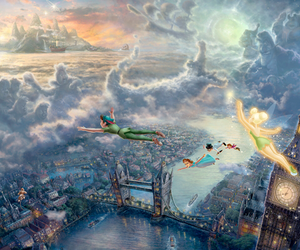 london, thomas kinkade, and peter pan image