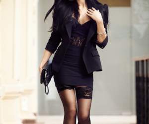 fashion, lace, and little black dress image