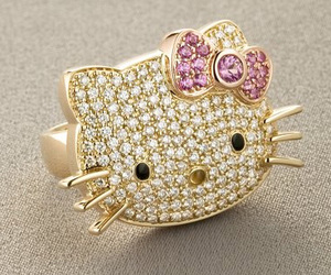 hello kitty, ring, and gold image