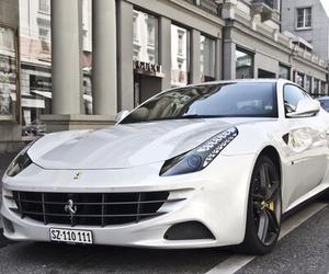 car, white, and ferrari image