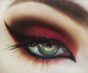 makeup, eyes, and red image