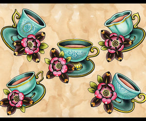 tea, flowers, and cups image