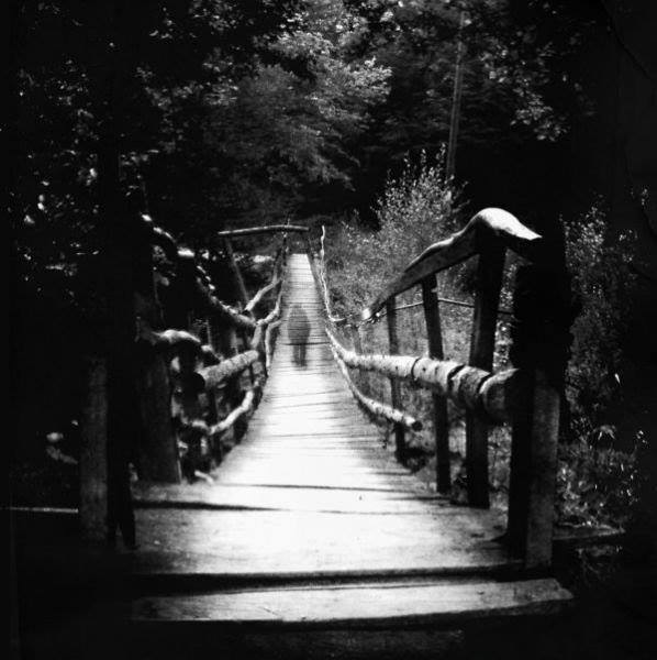 black and white, creepy, and ghost image