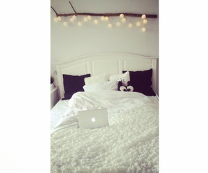 bedroom, lights, and mac image