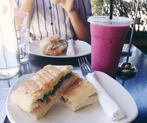 food, sandwich, and smoothie image