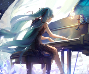 hatsune miku, vocaloid, and piano image