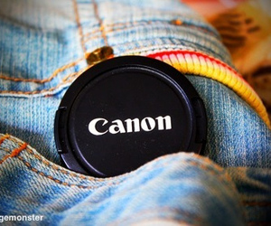 cannon, denim, and photography image