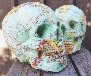skull, map, and world image