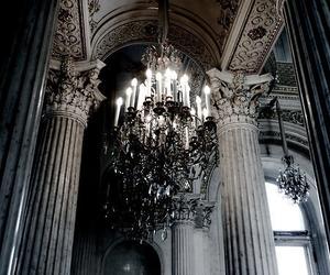 architecture, chandelier, and dark image