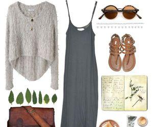 grey, long skirt, and ootd image