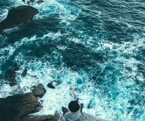 water, girl, and ocean image