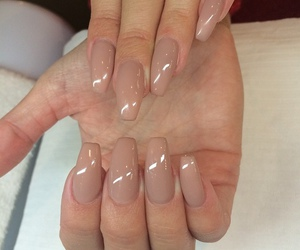 nails, Nude, and longnails image