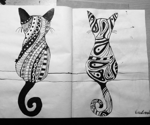 art, black and white, and cats image