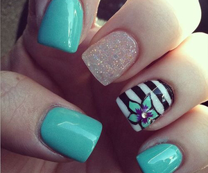 nails, flower, and blue image