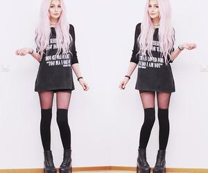 black, black tights, and grunge image