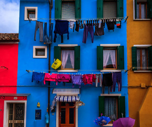 blue, clothes line, and house image