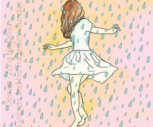 girl rain fashion colors image
