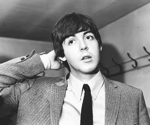 the beatles, Paul McCartney, and black and white image