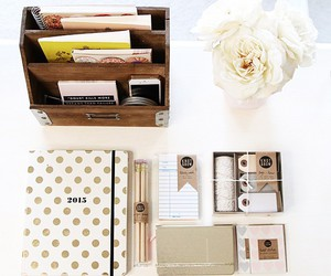 desk, flowers, and notebook image