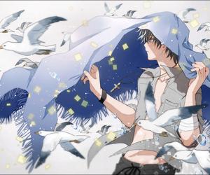 anime, boy, and bird image