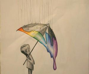 drawing, rain, and sad image