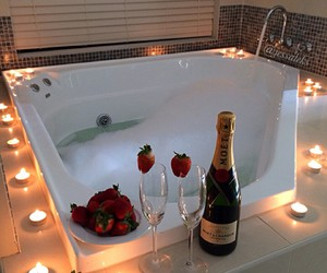 bath, romantic, and strawberry image