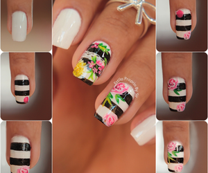 flower print, manicure, and ombre image