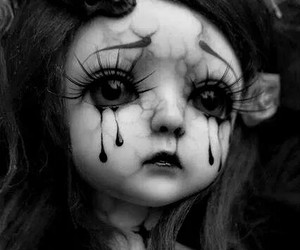 doll, cry, and blood image