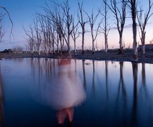 girl, water, and trees image