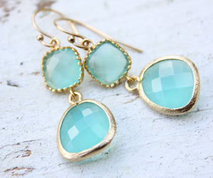 fashion, blue, and earrings image