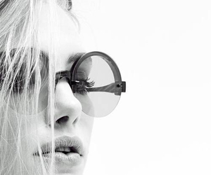 black and white, glasses, and beauty image
