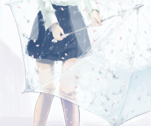 anime, umbrella, and rain image