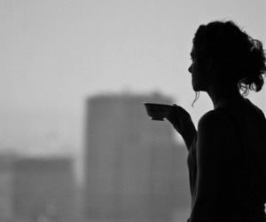 black and white, girl, and tea image