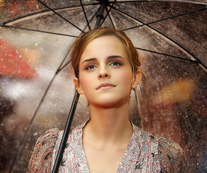 emma watson, rain, and umbrella image