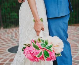 bride, flowers, and groom image